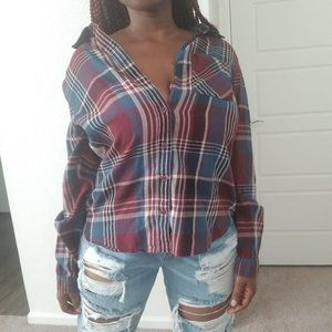 Rue 21 Flannel With Lace Detailing Sz Medium